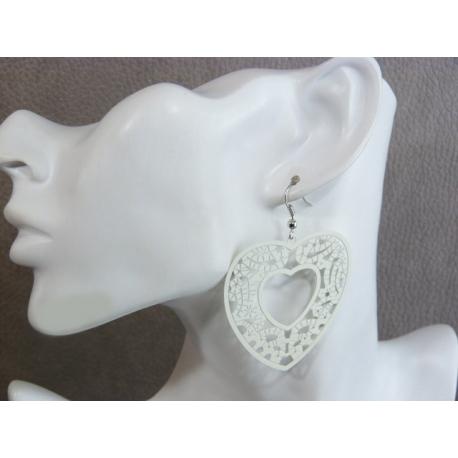 Boucles d'Oreilles Filigrane Coeur Motifs Ethniques Blanc