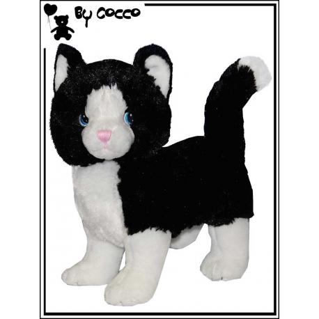 Chat  Noir et blanc Peluche 25 cm x 30 cm
