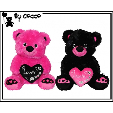 Assortiment x2 Ourson Love heart Peluche 17 cm x 30 cm