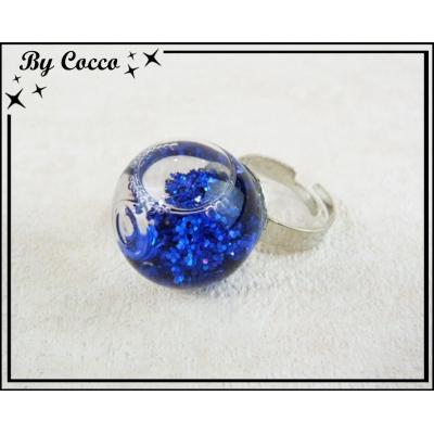 Bague Facon Boule à Paillettes Bleu