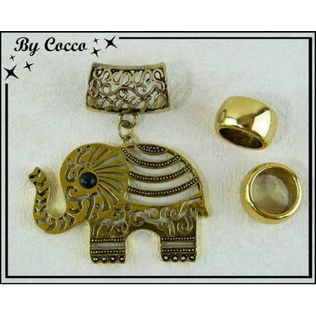 Bijou Elephant Or + 2 Anneaux de Finition