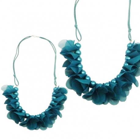 Collier perles - fleurs