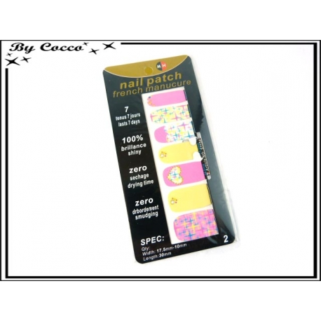 Patch ongles - Etoiles / Coeur - Rose / Jaune