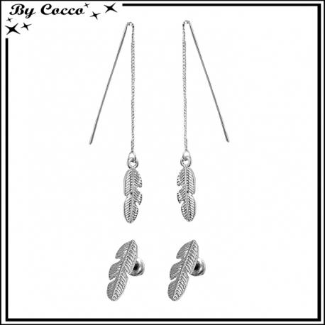 Boucles d'oreilles pendantes + plume argentée