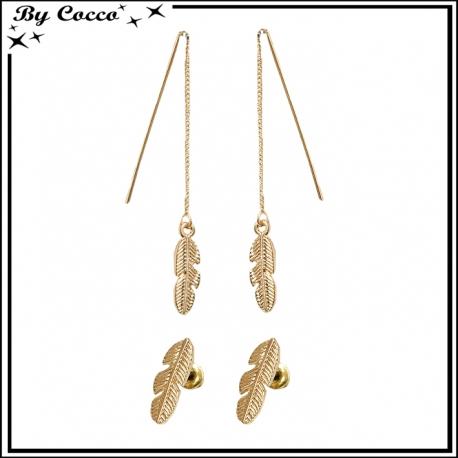 Boucles d'oreilles pendantes + plume dorée