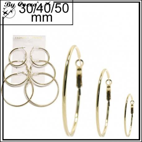 Lot de 3 paires de créoles dorées - 30/40/50 mm