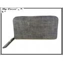 Porte-monnaie simple - Multi-compartiments - Aspect Tissu - Gris Foncé