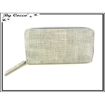 Porte-monnaie simple - Multi-compartiments - Aspect Tissu - Gris