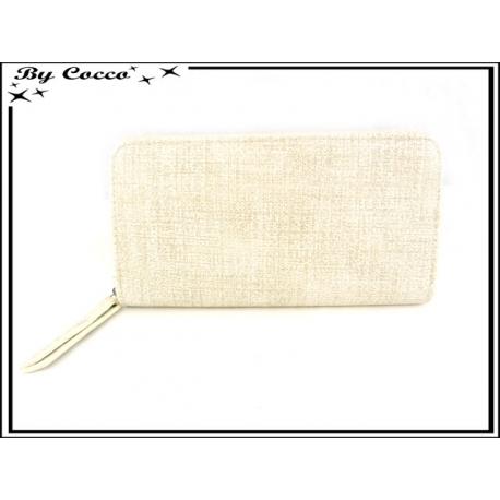Porte-monnaie simple - Multi-compartiments - Aspect Tissu - Crème