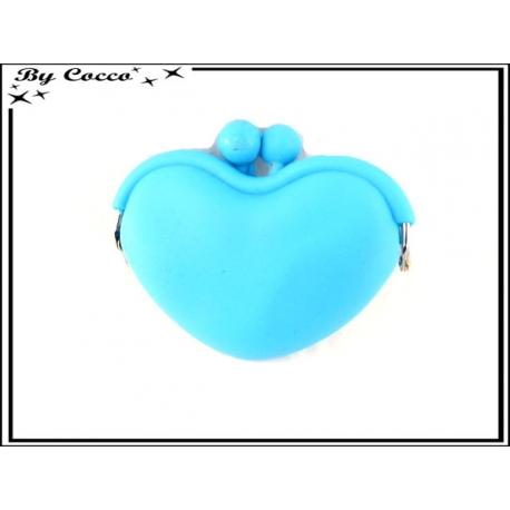 Porte-monnaie silicone coeur - Bleu