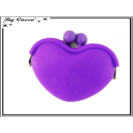 Porte-monnaie silicone coeur - Violet