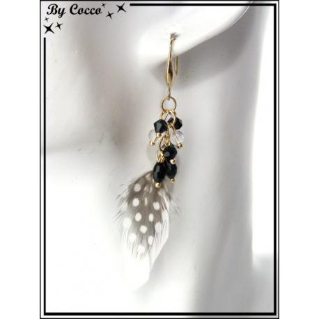 Boucles d'oreilles - Perles + Plumes - Blanc