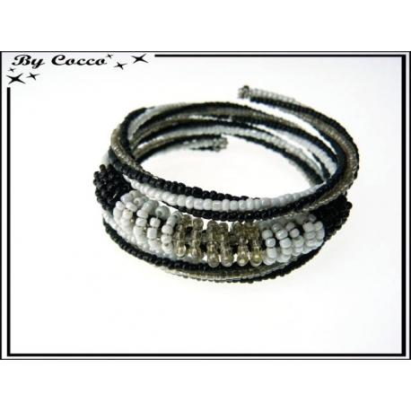 Bracelet - Multi-rangs - Perles - Noir / Blanc / Transparent