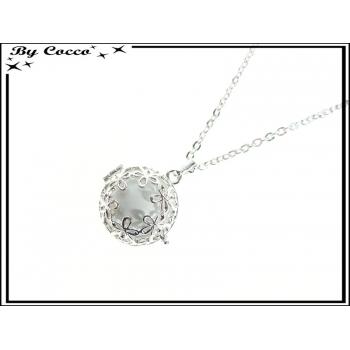 Bola - Clochette des anges - Bola + Chaîne + Boule blanche - Fleurs - Argent