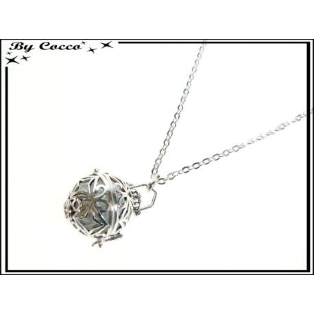 Bola - Clochette des anges - Bola + Chaîne + Boule blanche - Style lanterne - Etoiles - Argent