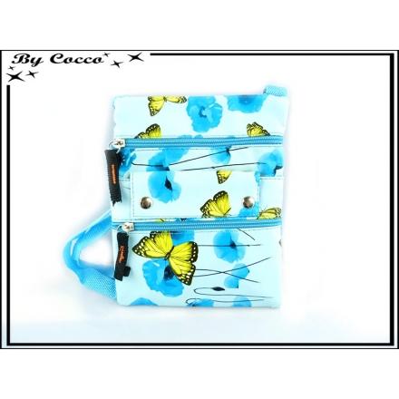 Sacoche / Besace - Papillons - Coquelicots - Bleu pastel