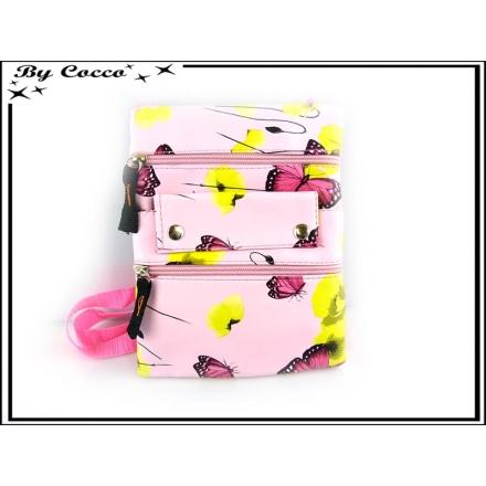 Sacoche / Besace - Papillons - Coquelicots - Rose poudrée