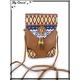 Moyenne pochette - Motif Aztèque - Pompon - Marron
