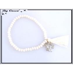 Bracelet - Stella Green - Pompon - Perles à facettes - Mate - Strass - Trèfle - Beige