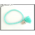 Bracelet - Stella Green - Pompon - Perles à facettes - Mate - Strass - Elephant - Turquoise