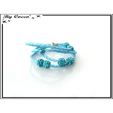 Bracelet multi-rangs - Boule strass - Bleu ciel