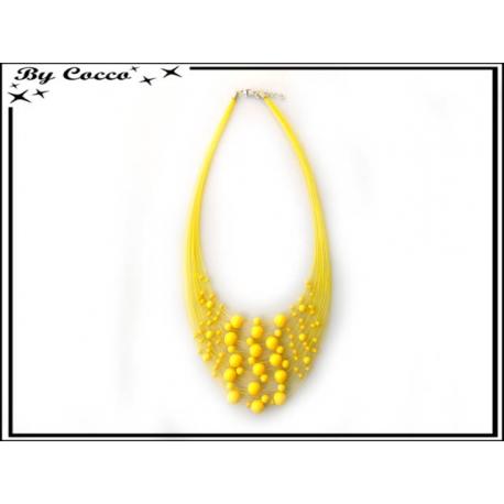 Collier - Multi-rangs - Perles - Jaune