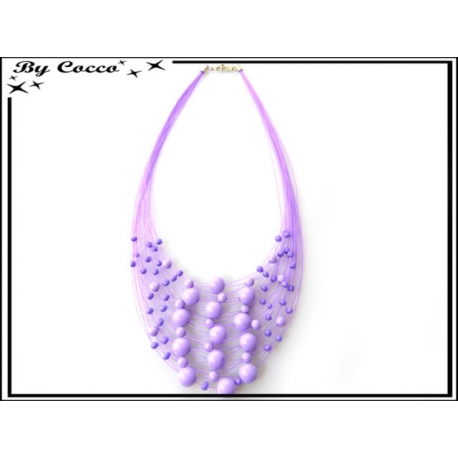 Collier - Multi-rangs - Perles - Violet