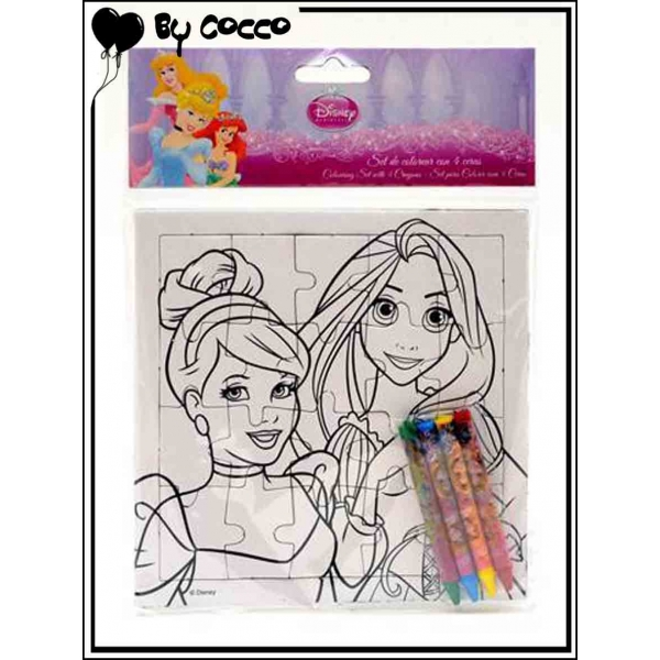 Puzzle colorier princesses 4 crayons cire inclus for Puzzle a colorier