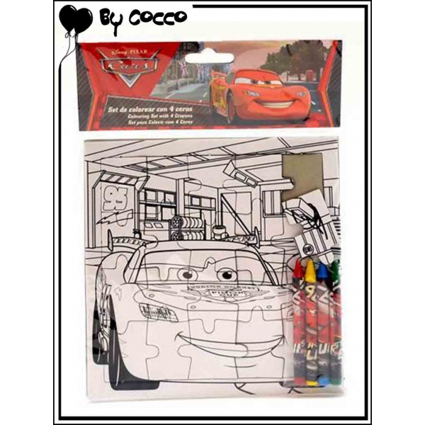 Puzzle colorier cars 4 crayons cire inclus cocconelle for Puzzle a colorier