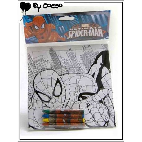 Puzzle à Colorier Spiderman (4 crayons cire inclus)