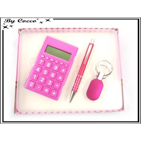 Coffret Calculatrice - Stylo - Porte-clés - Fushia