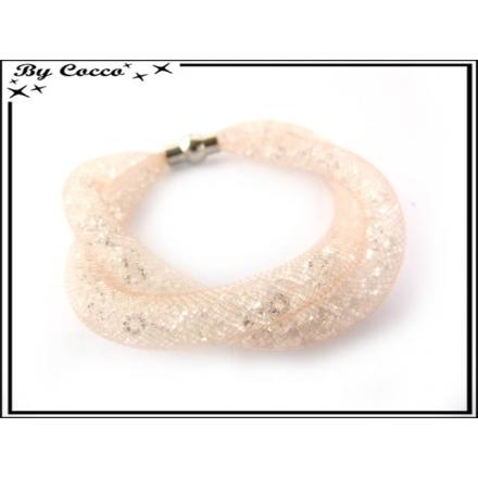 Bracelet - Filet - Nylon - Façon strass - Torsadé - Fermoir rond - Rose pastel