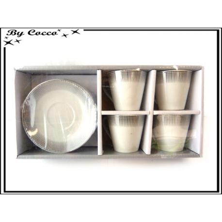 Coffret 4 tasses + soucoupes - Décoration argent