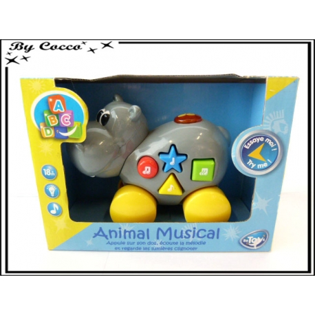 Animal musical à roulettes - Hippopotame