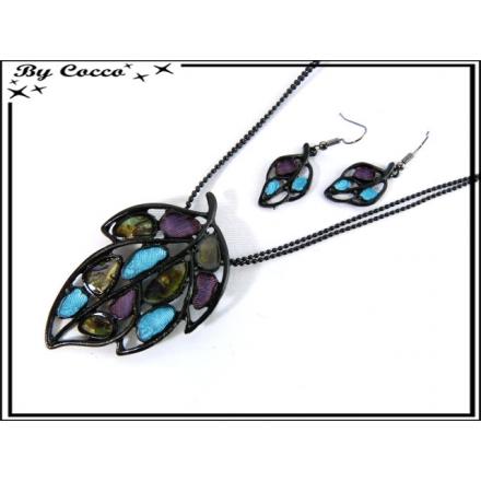 Parure Fantaisie - Feuilles - Mosaique - Bleu / Violet