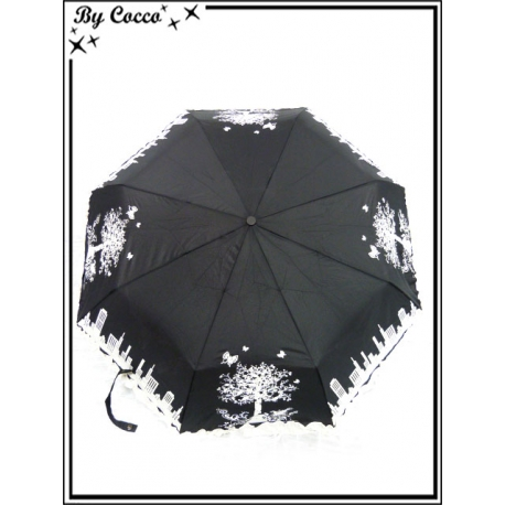 Parapluie - Pliable - Liseré dentelle - Ville / Arbre - Noir / Blanc