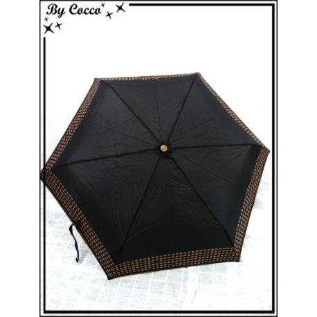 Parapluie - Pliable - Petits carrés - Marron glacé