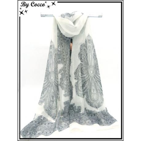 Mousseline - Impression cachemire - Fond blanc - Noir / Blanc