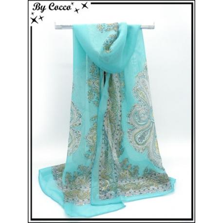 Mousseline - Impression cachemire - Fond turquoise