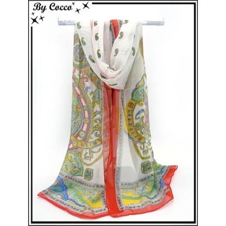 Mousseline - Fond blanc - Arabesques couleurs - Bordure rouge