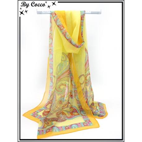 Mousseline - Fond jaune - Arabesques couleurs - Bordure orange