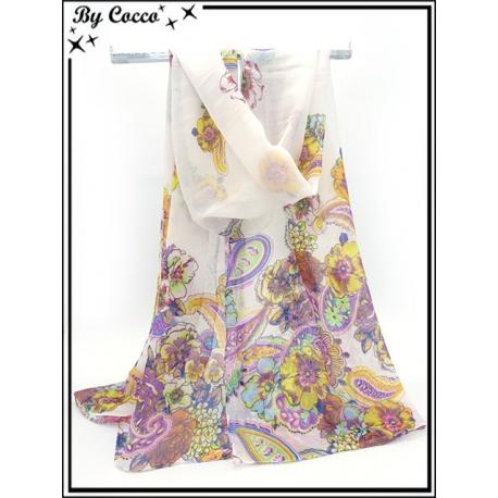 Mousseline - Fond blanc - Fleurs colorées