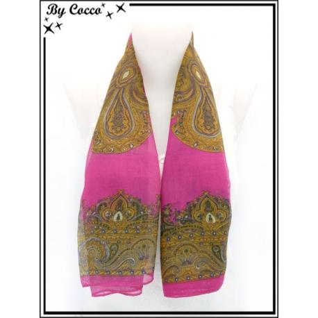 Carré mousseline - Impression cachemire - Fond fushia - Motif camel, violet et vert foncé