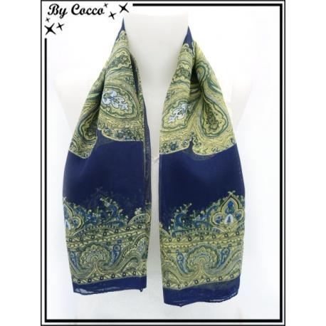 Carré mousseline - Impression cachemire - Fond bleu marine - Arabesques jaunes