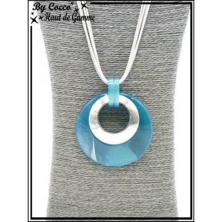 Sautoir - Ronds couleurs acidulées - Bleu