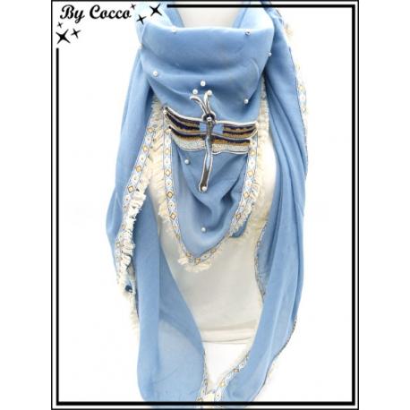 Foulard carré - Libellule - Bordures losanges - Bleu pastel