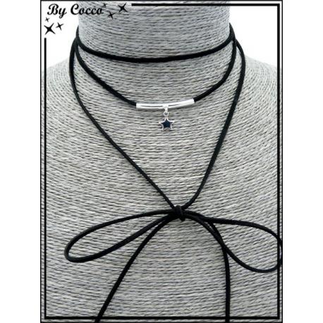 Choker - Pendentif étoile - Noir / Argent
