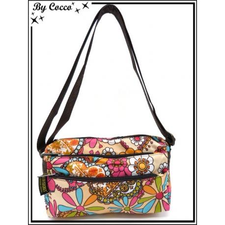 Vivi Secret 1 - Petite Besace rectangle - 2 poches à fermetures Zip - 4 poches - Fleurs couleurs pop - Multicolor