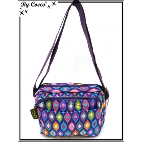 Vivi Secret 2 - Petite Besace rectangle - Grande poche avant zip - 4 poches - Losanges arrondis - Violet / Multicolor
