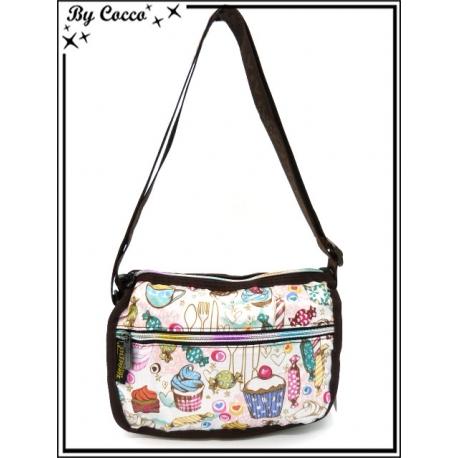 Vivi Secret 3 - Petite Besace rectangle - Poche zippée de chaque côté - 3 poches - Gourmandises - Multicolor